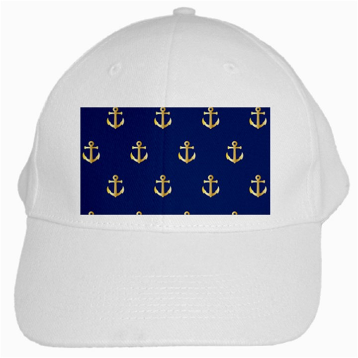 Gold Anchors On Blue Background Pattern White Cap