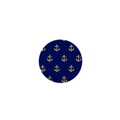 Gold Anchors On Blue Background Pattern 1  Mini Buttons