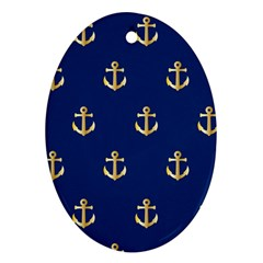 Gold Anchors On Blue Background Pattern Ornament (Oval)