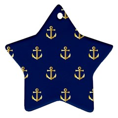 Gold Anchors On Blue Background Pattern Ornament (Star)