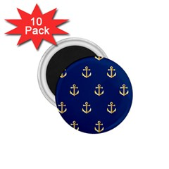 Gold Anchors On Blue Background Pattern 1 75  Magnets (10 Pack)
