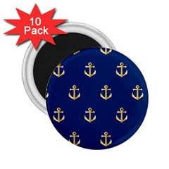 Gold Anchors On Blue Background Pattern 2.25  Magnets (10 pack)
