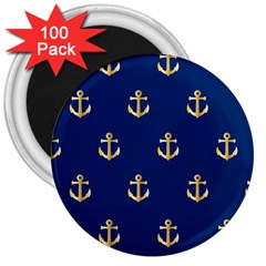 Gold Anchors On Blue Background Pattern 3  Magnets (100 Pack)