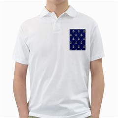 Gold Anchors On Blue Background Pattern Golf Shirts