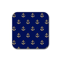 Gold Anchors On Blue Background Pattern Rubber Coaster (Square)