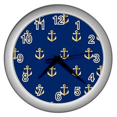 Gold Anchors On Blue Background Pattern Wall Clocks (silver)