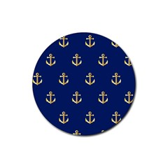 Gold Anchors On Blue Background Pattern Rubber Coaster (round)