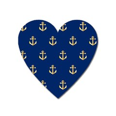 Gold Anchors On Blue Background Pattern Heart Magnet