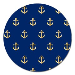 Gold Anchors On Blue Background Pattern Magnet 5  (Round)