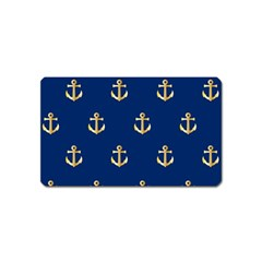 Gold Anchors On Blue Background Pattern Magnet (name Card)