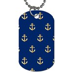 Gold Anchors On Blue Background Pattern Dog Tag (One Side) Front