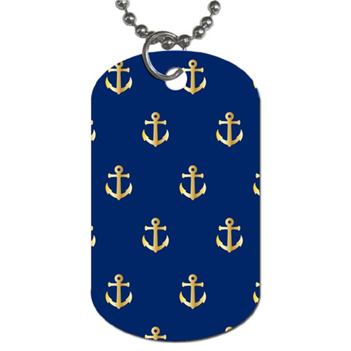 Gold Anchors On Blue Background Pattern Dog Tag (One Side)