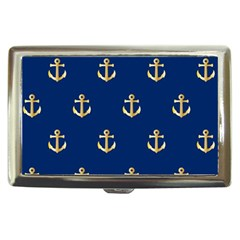 Gold Anchors On Blue Background Pattern Cigarette Money Cases