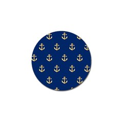 Gold Anchors On Blue Background Pattern Golf Ball Marker