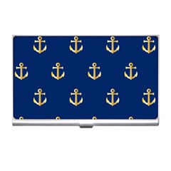 Gold Anchors On Blue Background Pattern Business Card Holders