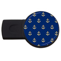 Gold Anchors On Blue Background Pattern USB Flash Drive Round (1 GB)