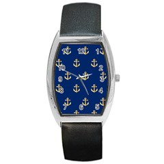 Gold Anchors On Blue Background Pattern Barrel Style Metal Watch