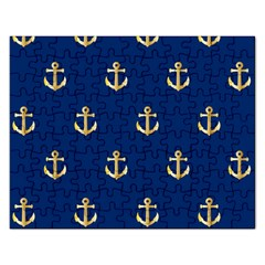 Gold Anchors On Blue Background Pattern Rectangular Jigsaw Puzzl