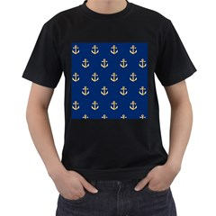 Gold Anchors On Blue Background Pattern Men s T-Shirt (Black) (Two Sided)