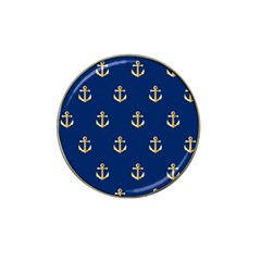 Gold Anchors On Blue Background Pattern Hat Clip Ball Marker