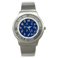 Gold Anchors On Blue Background Pattern Stainless Steel Watch