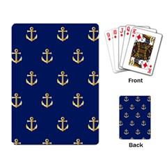 Gold Anchors On Blue Background Pattern Playing Card