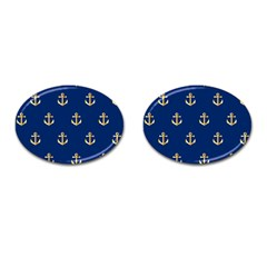 Gold Anchors On Blue Background Pattern Cufflinks (Oval)