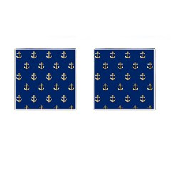 Gold Anchors On Blue Background Pattern Cufflinks (Square)