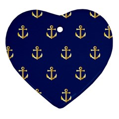 Gold Anchors On Blue Background Pattern Heart Ornament (two Sides)
