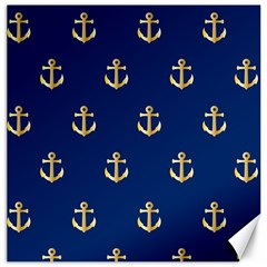 Gold Anchors On Blue Background Pattern Canvas 16  X 16