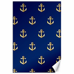 Gold Anchors On Blue Background Pattern Canvas 20  X 30