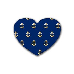 Gold Anchors On Blue Background Pattern Rubber Coaster (Heart)