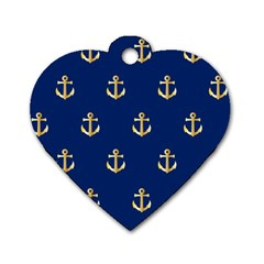 Gold Anchors On Blue Background Pattern Dog Tag Heart (One Side)
