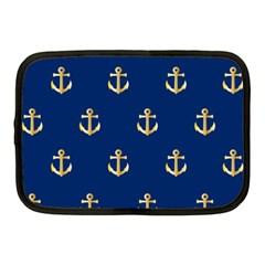 Gold Anchors On Blue Background Pattern Netbook Case (medium)