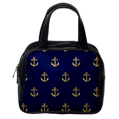 Gold Anchors On Blue Background Pattern Classic Handbags (One Side)