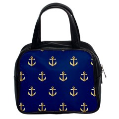 Gold Anchors On Blue Background Pattern Classic Handbags (2 Sides)