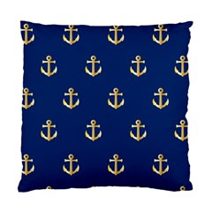 Gold Anchors On Blue Background Pattern Standard Cushion Case (two Sides)
