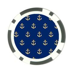 Gold Anchors On Blue Background Pattern Poker Chip Card Guard (10 Pack)