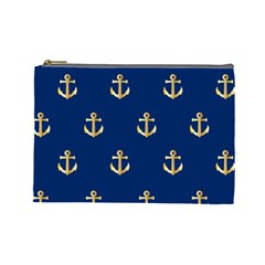 Gold Anchors On Blue Background Pattern Cosmetic Bag (large)