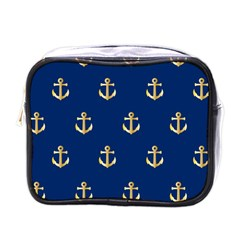Gold Anchors On Blue Background Pattern Mini Toiletries Bags