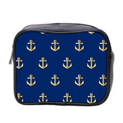 Gold Anchors On Blue Background Pattern Mini Toiletries Bag 2-Side