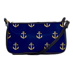 Gold Anchors On Blue Background Pattern Shoulder Clutch Bags