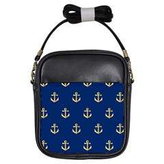 Gold Anchors On Blue Background Pattern Girls Sling Bags