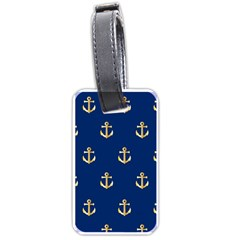 Gold Anchors On Blue Background Pattern Luggage Tags (One Side)