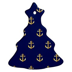 Gold Anchors On Blue Background Pattern Christmas Tree Ornament (Two Sides)