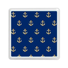 Gold Anchors On Blue Background Pattern Memory Card Reader (square)