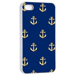 Gold Anchors On Blue Background Pattern Apple iPhone 4/4s Seamless Case (White)