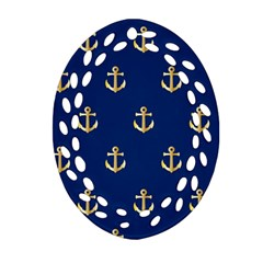 Gold Anchors On Blue Background Pattern Ornament (Oval Filigree)