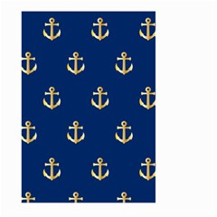 Gold Anchors On Blue Background Pattern Large Garden Flag (two Sides)