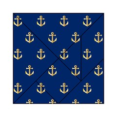 Gold Anchors On Blue Background Pattern Acrylic Tangram Puzzle (6  x 6 )